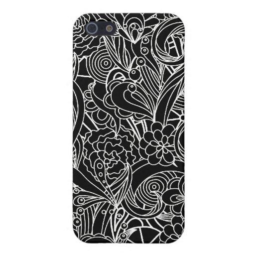 Remolino floral abstracto B&W - para 4 iPhone 5 Fundas