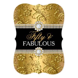 """Remolino floral cincuenta del oro elegante y invitación 5"""" x 7"""""""