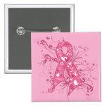 Remolino floral de la cinta del rosa del cáncer de pins