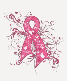 Remolino floral de la cinta del rosa del cáncer de camiseta