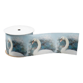 Remolino floral del cisne lazo de raso