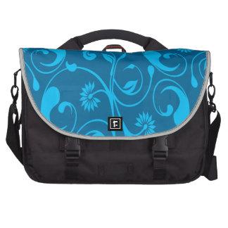 Remolino floral del negro azul bolsa de ordenador