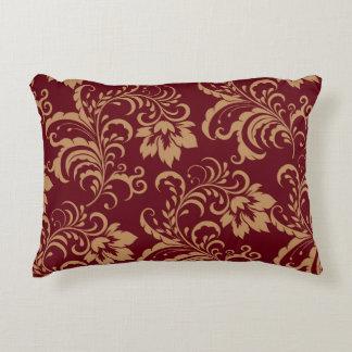 Remolino floral del oro marrón cojín decorativo
