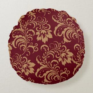 Remolino floral del oro marrón cojín redondo