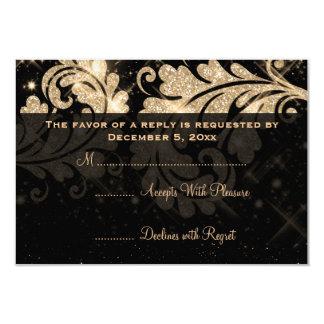 Remolino floral elegante del brillo del oro de invitación 8,9 x 12,7 cm