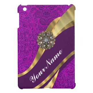Remolino floral púrpura del oro del damasco