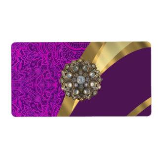 Remolino floral púrpura del oro del damasco etiqueta de envío