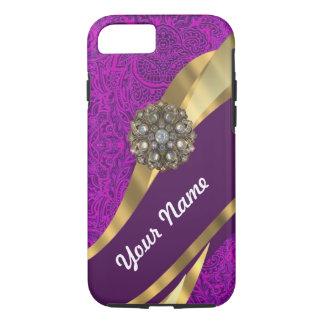 Remolino floral púrpura del oro del damasco funda iPhone 7