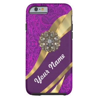 Remolino floral púrpura del oro del damasco funda resistente iPhone 6