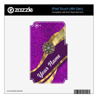 Remolino floral púrpura del oro del damasco iPod touch 4G skin