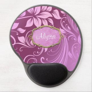 Remolino floral púrpura personalizado alfombrilla de ratón con gel