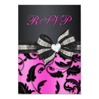 """Remolino floral RSVP con el arco Jeweled Invitación 3.5"""" X 5"""""""