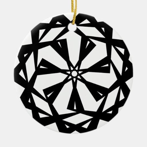 Remolino geométrico 2 (extracto) adorno redondo de cerámica