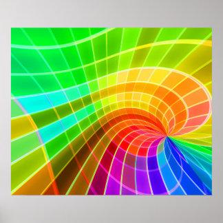 Remolino geométrico del arco iris póster