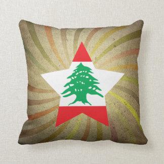 Remolino libanés de la bandera del vintage cojín decorativo