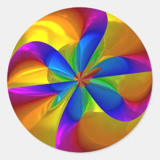 Remolino metálico abstracto del color del arco pegatina redonda