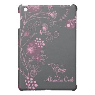 Remolino-Monograma floral de color morado oscuro y