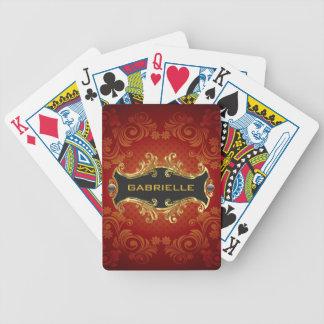 Remolino-Monograma rojo del vintage de los tonos d Baraja Cartas De Poker