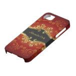 Remolino-Monograma rojo del vintage de los tonos d iPhone 5 Cárcasas