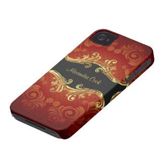 Remolino-Monograma rojo del vintage de los tonos iPhone 4 Cárcasas