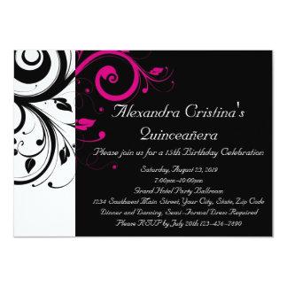 Remolino negro, blanco, magenta Quinceañera Invitación 11,4 X 15,8 Cm