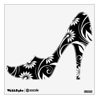 Remolino negro de la flor blanca elegante vinilo adhesivo