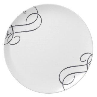 Remolino negro en la placa plato