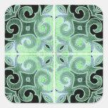Remolino negro verde inspirado por el portugués calcomanías cuadradass personalizadas