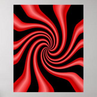 Remolino negro y rojo poster