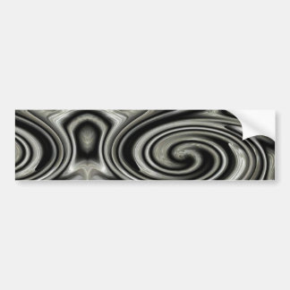Remolino psicodélico blanco y negro etiqueta de parachoque
