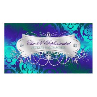 Remolino púrpura del damasco del trullo elegante tarjetas de visita
