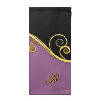 remolino Púrpura-negro con inicial Servilleta