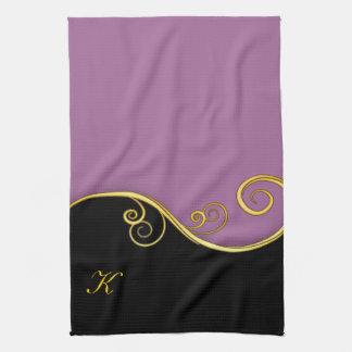 remolino Púrpura-negro con inicial Toallas