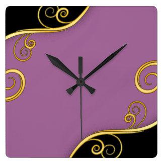 remolino Púrpura-negro Reloj Cuadrado