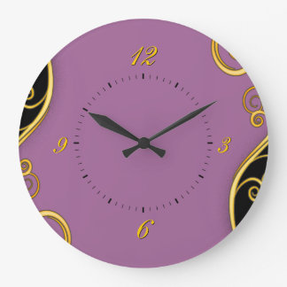 remolino Púrpura-negro Reloj Redondo Grande