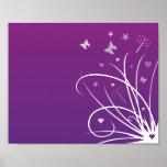 Remolino púrpura y rosado de la mariposa poster