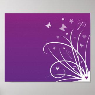 Remolino púrpura y rosado de la mariposa póster