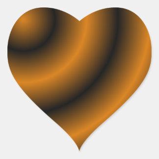 Remolino redondo anaranjado y negro pegatina en forma de corazón