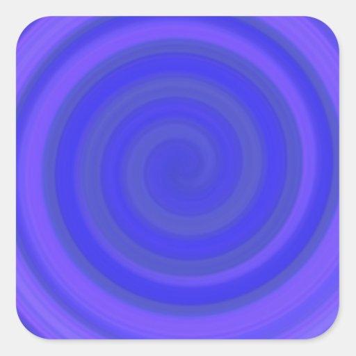 Remolino retro del caramelo en el azul violeta pegatina cuadrada