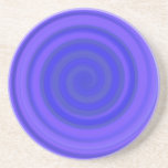 Remolino retro del caramelo en el azul violeta posavaso para bebida