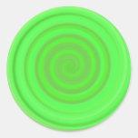 Remolino retro del caramelo en verde lima pegatinas redondas