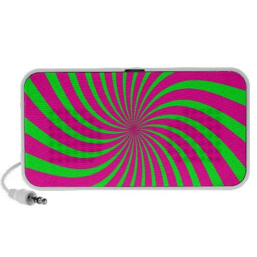 Remolino retro del verde y del rosa iPod altavoz