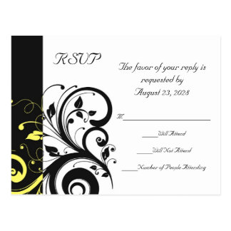 Remolino reverso negro y amarillo tarjetas postales