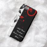 Remolino reverso rojo blanco negro personalizado funda de iPhone 6 barely there