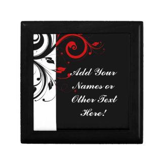 Remolino reverso rojo blanco negro personalizado joyero cuadrado pequeño
