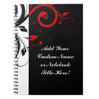 Remolino reverso rojo blanco negro personalizado libro de apuntes