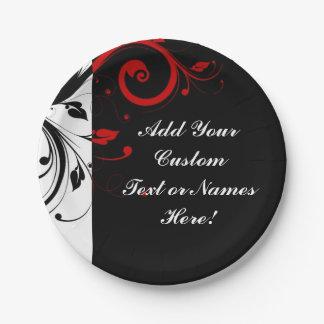 Remolino reverso rojo blanco negro personalizado plato de papel de 7 pulgadas
