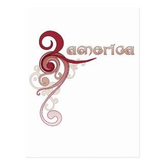 Remolino rizado rosado América Tarjeta Postal
