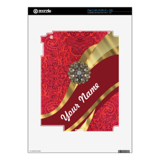Remolino rojo del damasco y del oro iPad 2 calcomanías