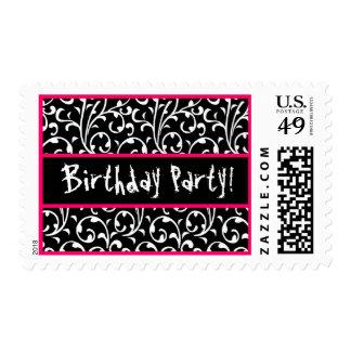 Remolino rosado blanco negro sello postal